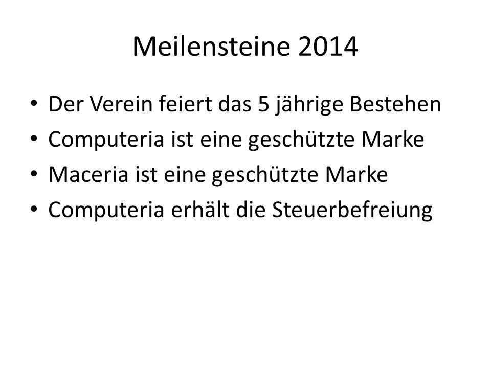 Meilensteine 2014 Der Verein feiert das 5 jährige Bestehen Computeria ist eine geschützte Marke Maceria ist eine geschützte Marke Computeria erhält die Steuerbefreiung