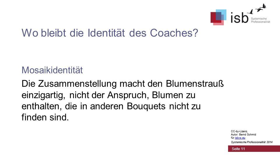 CC-by-Lizenz, Autor: Bernd Schmid für isb-w.euisb-w.eu Systemische Professionalität 2014 Wo bleibt die Identität des Coaches.