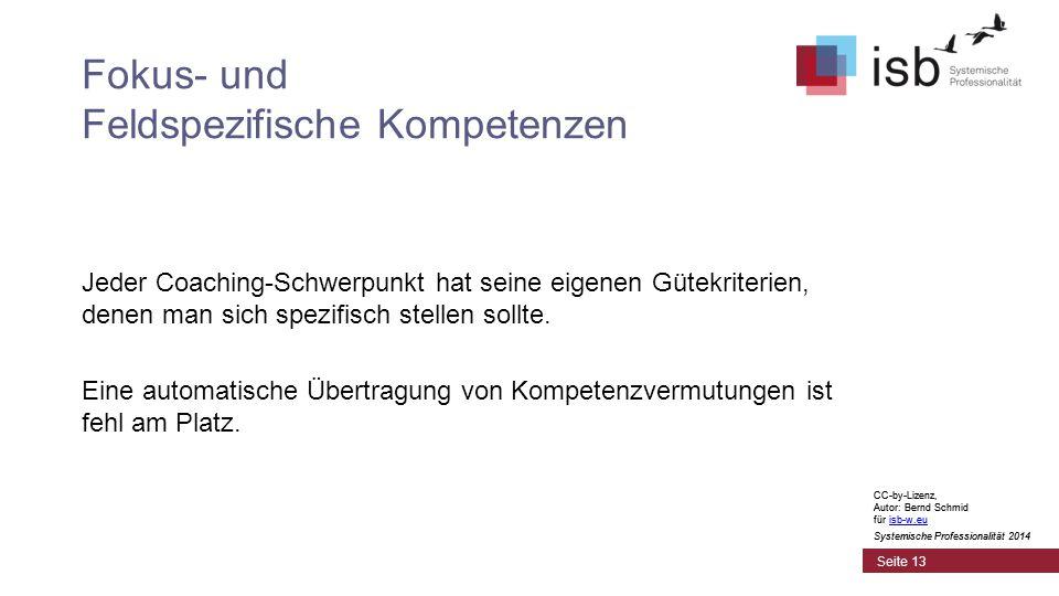 CC-by-Lizenz, Autor: Bernd Schmid für isb-w.euisb-w.eu Systemische Professionalität 2014 Fokus- und Feldspezifische Kompetenzen Jeder Coaching-Schwerpunkt hat seine eigenen Gütekriterien, denen man sich spezifisch stellen sollte.