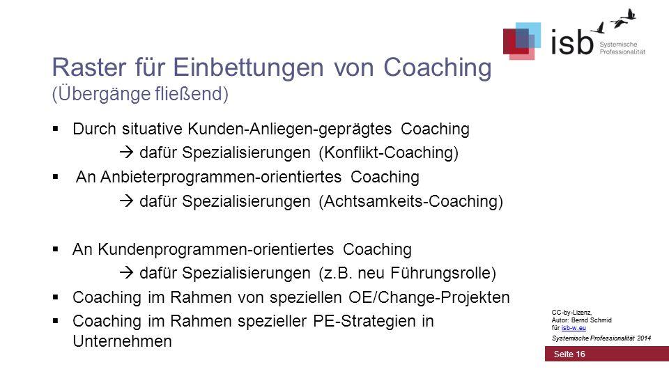 CC-by-Lizenz, Autor: Bernd Schmid für isb-w.euisb-w.eu Systemische Professionalität 2014 Seite 16 Raster für Einbettungen von Coaching (Übergänge fließend)  Durch situative Kunden-Anliegen-geprägtes Coaching  dafür Spezialisierungen (Konflikt-Coaching)  An Anbieterprogrammen-orientiertes Coaching  dafür Spezialisierungen (Achtsamkeits-Coaching)  An Kundenprogrammen-orientiertes Coaching  dafür Spezialisierungen (z.B.