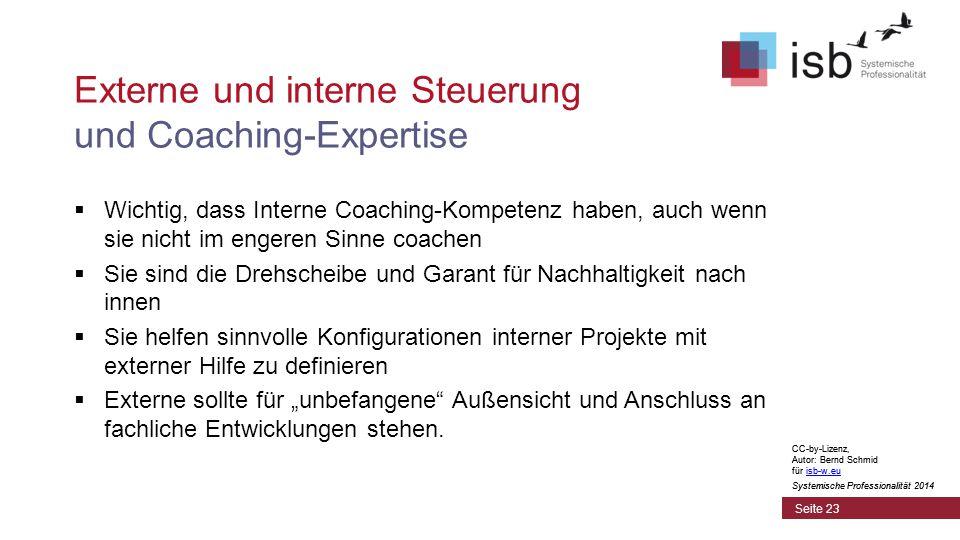 """CC-by-Lizenz, Autor: Bernd Schmid für isb-w.euisb-w.eu Systemische Professionalität 2014 Externe und interne Steuerung und Coaching-Expertise  Wichtig, dass Interne Coaching-Kompetenz haben, auch wenn sie nicht im engeren Sinne coachen  Sie sind die Drehscheibe und Garant für Nachhaltigkeit nach innen  Sie helfen sinnvolle Konfigurationen interner Projekte mit externer Hilfe zu definieren  Externe sollte für """"unbefangene Außensicht und Anschluss an fachliche Entwicklungen stehen."""