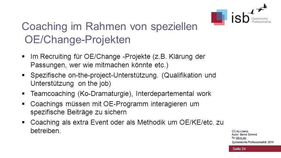 CC-by-Lizenz, Autor: Bernd Schmid für isb-w.euisb-w.eu Systemische Professionalität 2014 Coaching im Rahmen von speziellen OE/Change-Projekten  Im Recruiting für OE/Change -Projekte (z.B.
