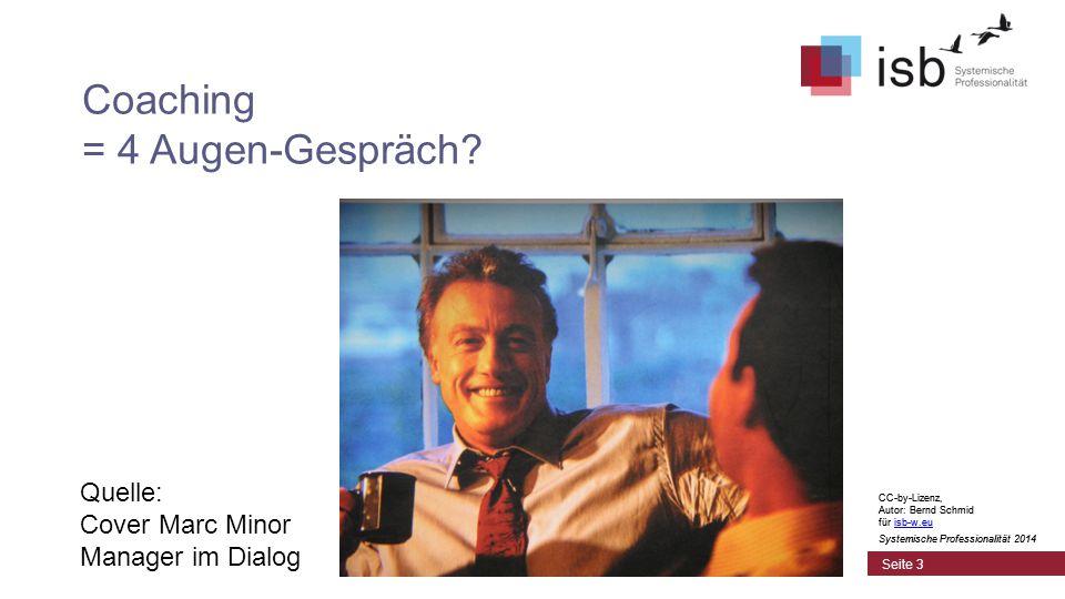 """CC-by-Lizenz, Autor: Bernd Schmid für isb-w.euisb-w.eu Systemische Professionalität 2014 Wofür steht """"Coaching ."""