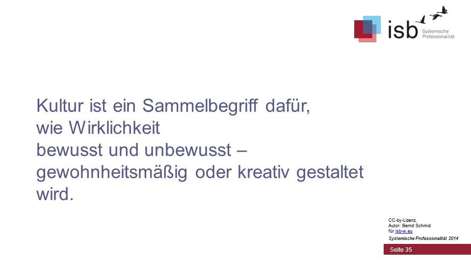 CC-by-Lizenz, Autor: Bernd Schmid für isb-w.euisb-w.eu Systemische Professionalität 2014 Seite 35 Kultur ist ein Sammelbegriff dafür, wie Wirklichkeit bewusst und unbewusst – gewohnheitsmäßig oder kreativ gestaltet wird.
