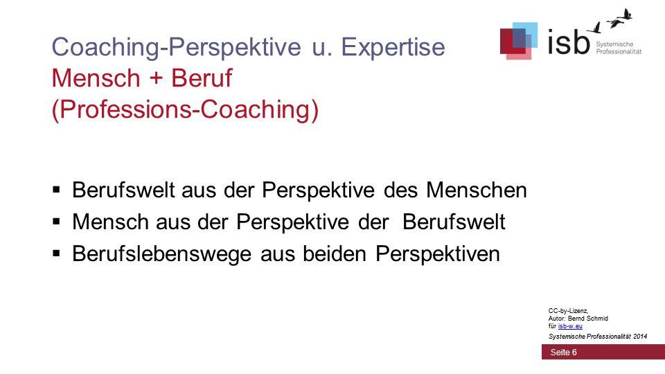 CC-by-Lizenz, Autor: Bernd Schmid für isb-w.euisb-w.eu Systemische Professionalität 2014 Seite 7 Coaching-Perspektive u.