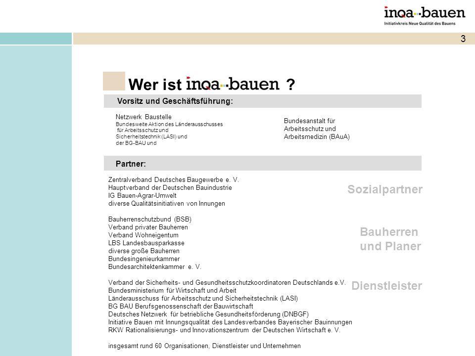 3 Wer ist ? Netzwerk Baustelle Bundesweite Aktion des Länderausschusses für Arbeitsschutz und Sicherheitstechnik (LASI) und der BG-BAU und Bundesansta