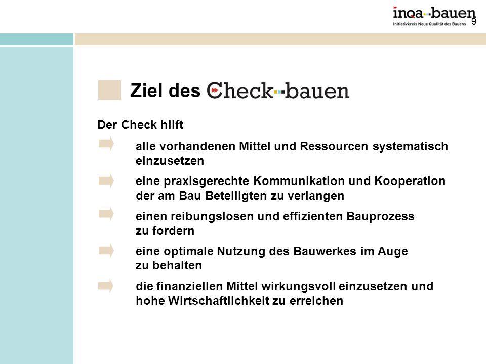 9 Ziel des Der Check hilft alle vorhandenen Mittel und Ressourcen systematisch einzusetzen eine praxisgerechte Kommunikation und Kooperation der am Ba