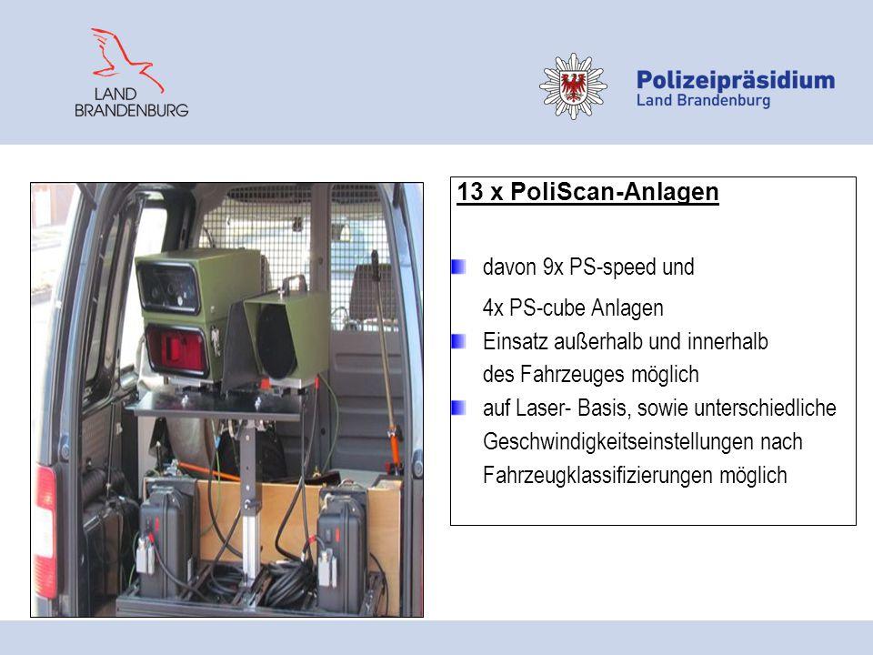 13 x PoliScan-Anlagen davon 9x PS-speed und 4x PS-cube Anlagen Einsatz außerhalb und innerhalb des Fahrzeuges möglich auf Laser- Basis, sowie untersch