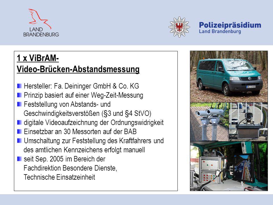 1 x ViBrAM- Video-Brücken-Abstandsmessung Hersteller: Fa. Deininger GmbH & Co. KG Prinzip basiert auf einer Weg-Zeit-Messung Feststellung von Abstands