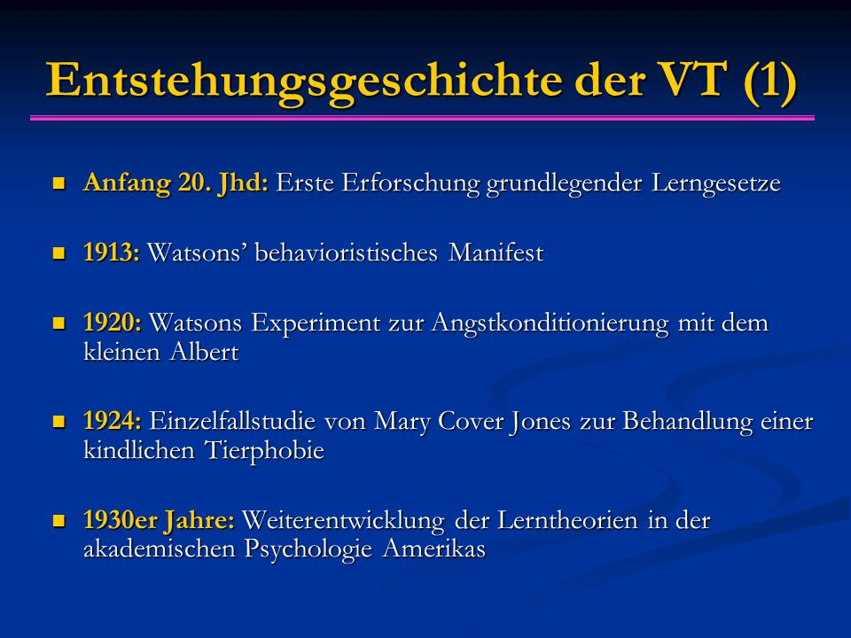Entstehungsgeschichte der VT (1) Anfang 20.