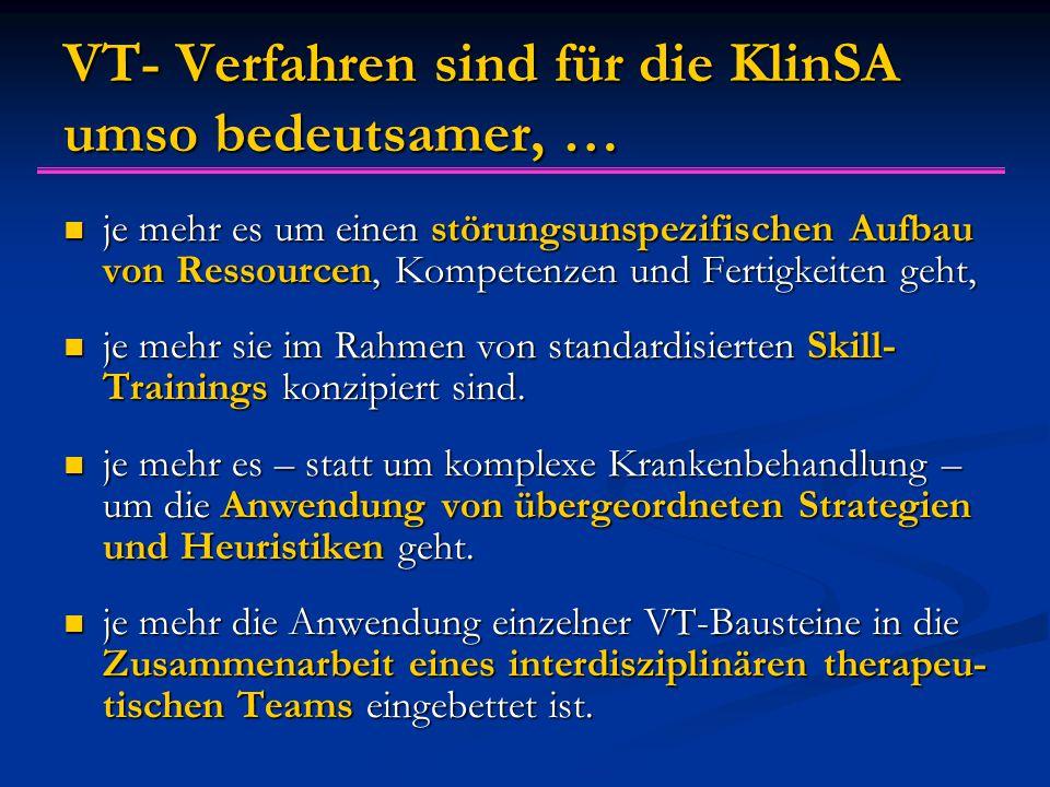VT- Verfahren sind für die KlinSA umso bedeutsamer, … je mehr es um einen störungsunspezifischen Aufbau von Ressourcen, Kompetenzen und Fertigkeiten geht, je mehr es um einen störungsunspezifischen Aufbau von Ressourcen, Kompetenzen und Fertigkeiten geht, je mehr sie im Rahmen von standardisierten Skill- Trainings konzipiert sind.