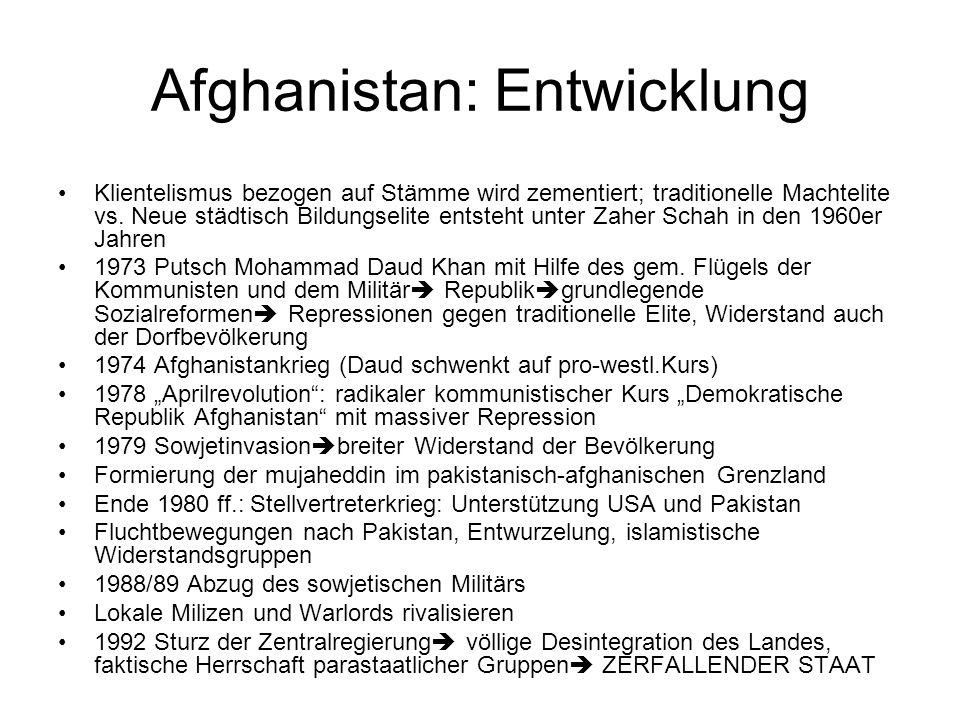 Afghanistan: Entwicklung Klientelismus bezogen auf Stämme wird zementiert; traditionelle Machtelite vs.
