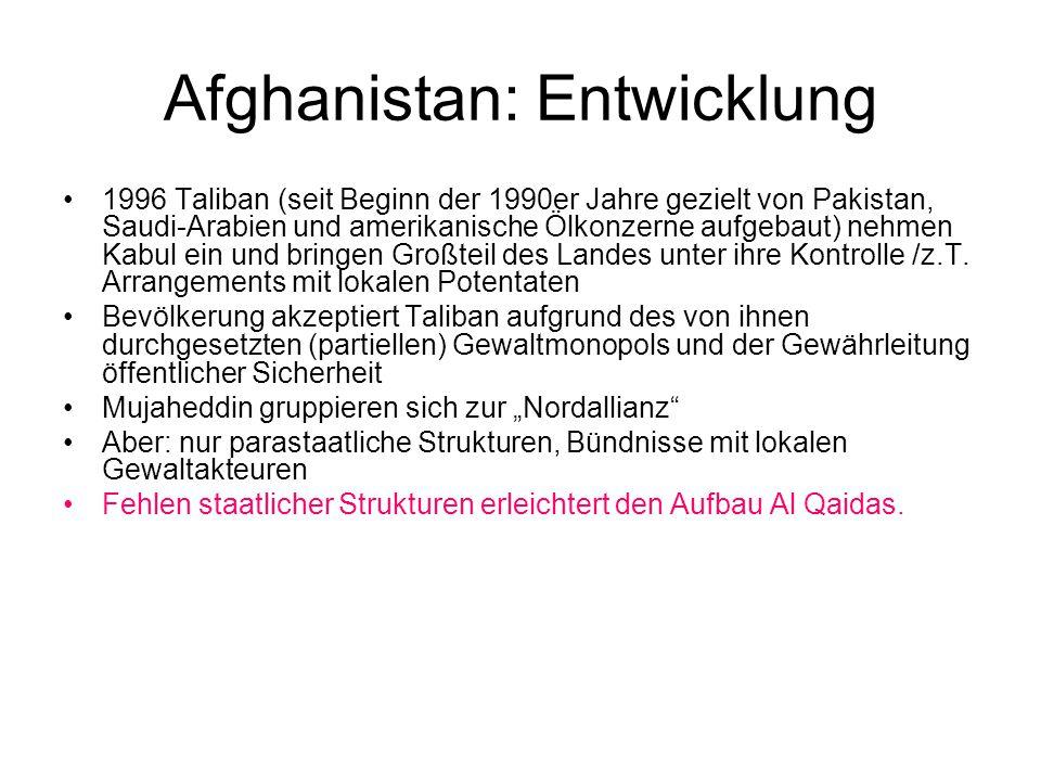 Afghanistan: Entwicklung 1996 Taliban (seit Beginn der 1990er Jahre gezielt von Pakistan, Saudi-Arabien und amerikanische Ölkonzerne aufgebaut) nehmen Kabul ein und bringen Großteil des Landes unter ihre Kontrolle /z.T.