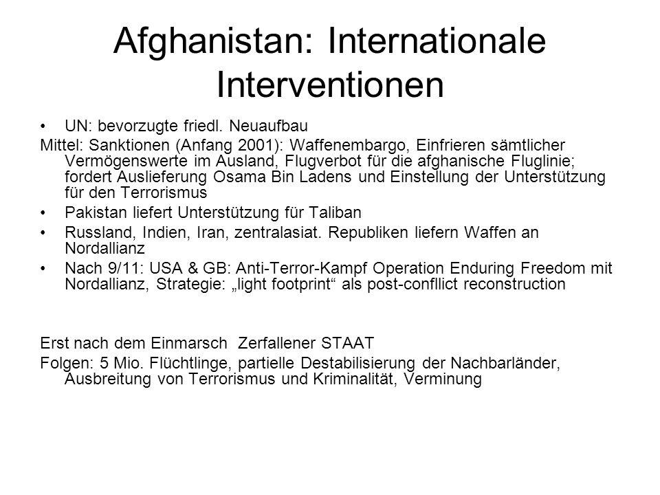 Afghanistan: Internationale Interventionen UN: bevorzugte friedl.