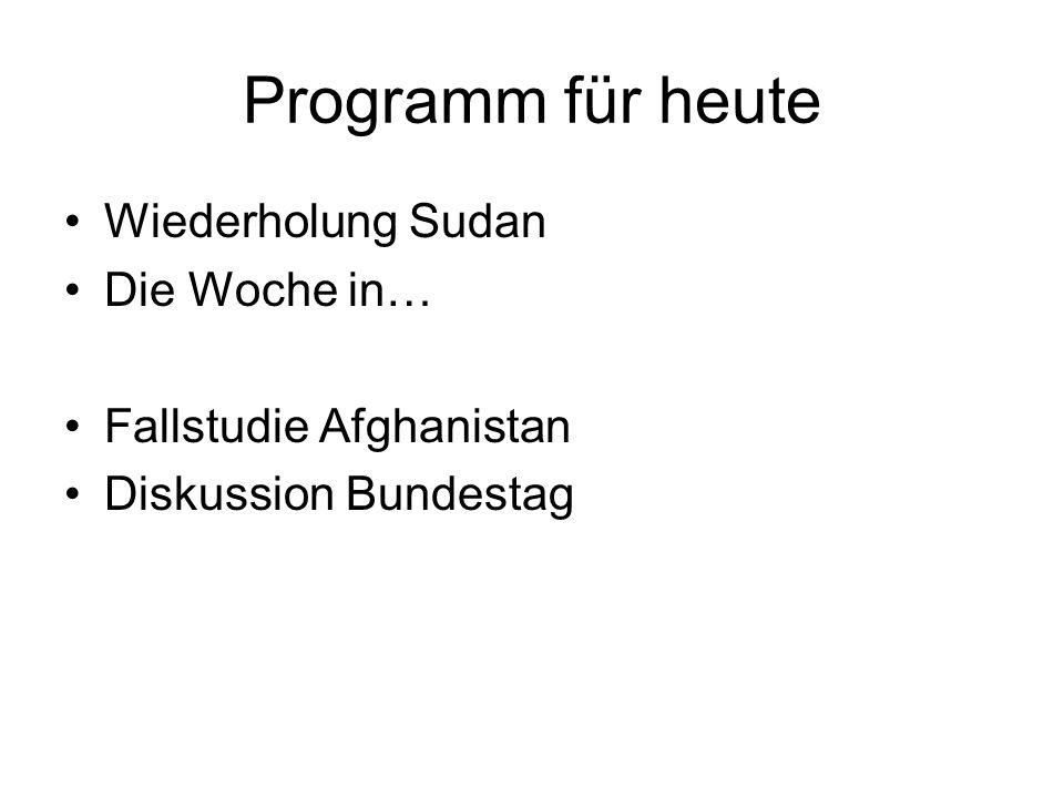 Programm für heute Wiederholung Sudan Die Woche in… Fallstudie Afghanistan Diskussion Bundestag