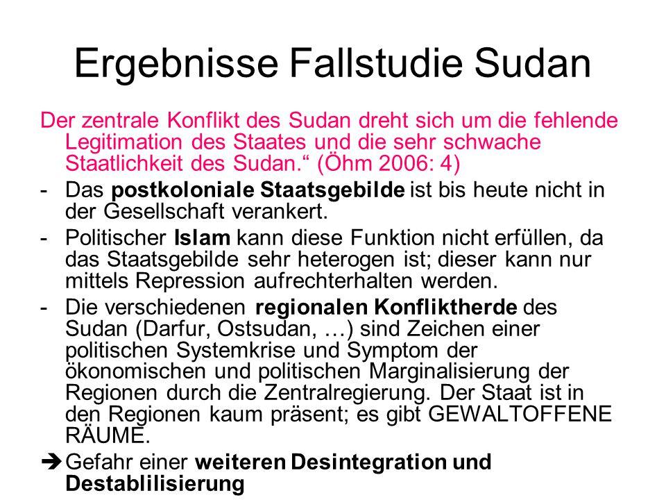 Ergebnisse Fallstudie Sudan Der zentrale Konflikt des Sudan dreht sich um die fehlende Legitimation des Staates und die sehr schwache Staatlichkeit des Sudan. (Öhm 2006: 4) - Das postkoloniale Staatsgebilde ist bis heute nicht in der Gesellschaft verankert.