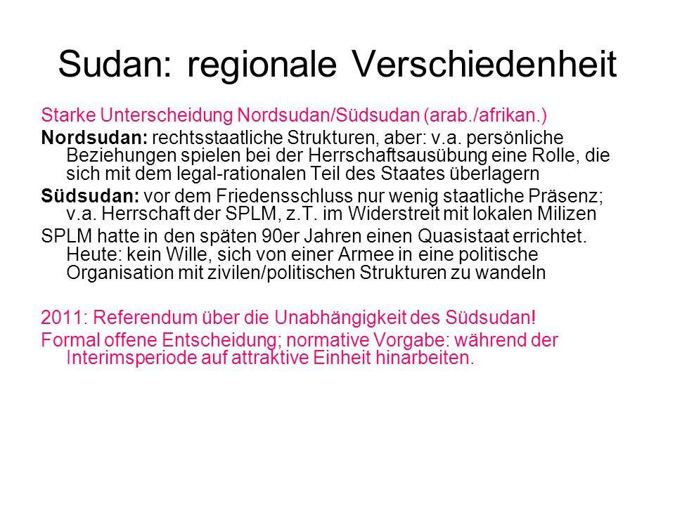 Sudan: regionale Verschiedenheit Starke Unterscheidung Nordsudan/Südsudan (arab./afrikan.) Nordsudan: rechtsstaatliche Strukturen, aber: v.a.