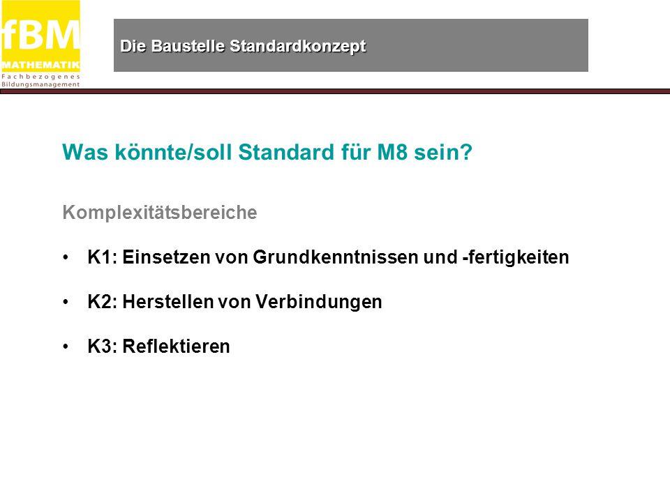 Die Baustelle Standardkonzept Was könnte/soll Standard für M8 sein.