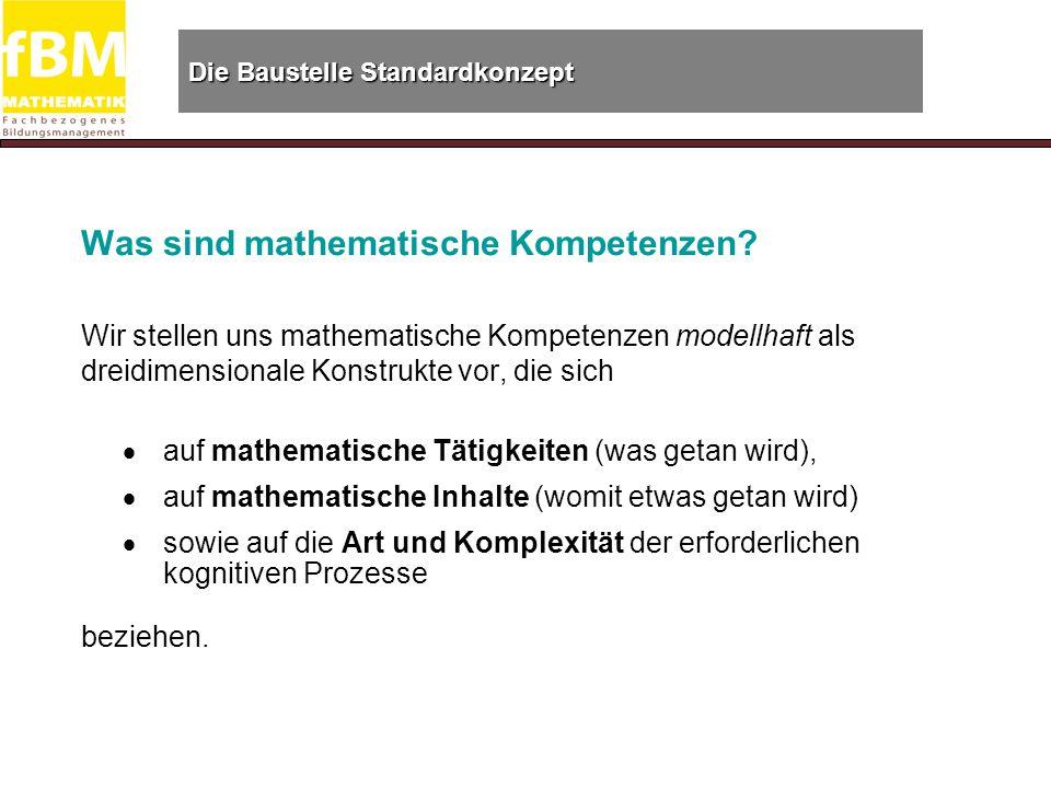 Die Baustelle Standardkonzept Was sind mathematische Kompetenzen.