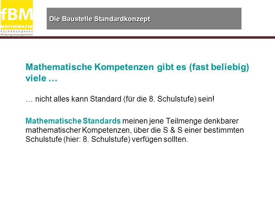 Die Baustelle Standardkonzept Die Auswahl der Standards erfolgt normativ ….