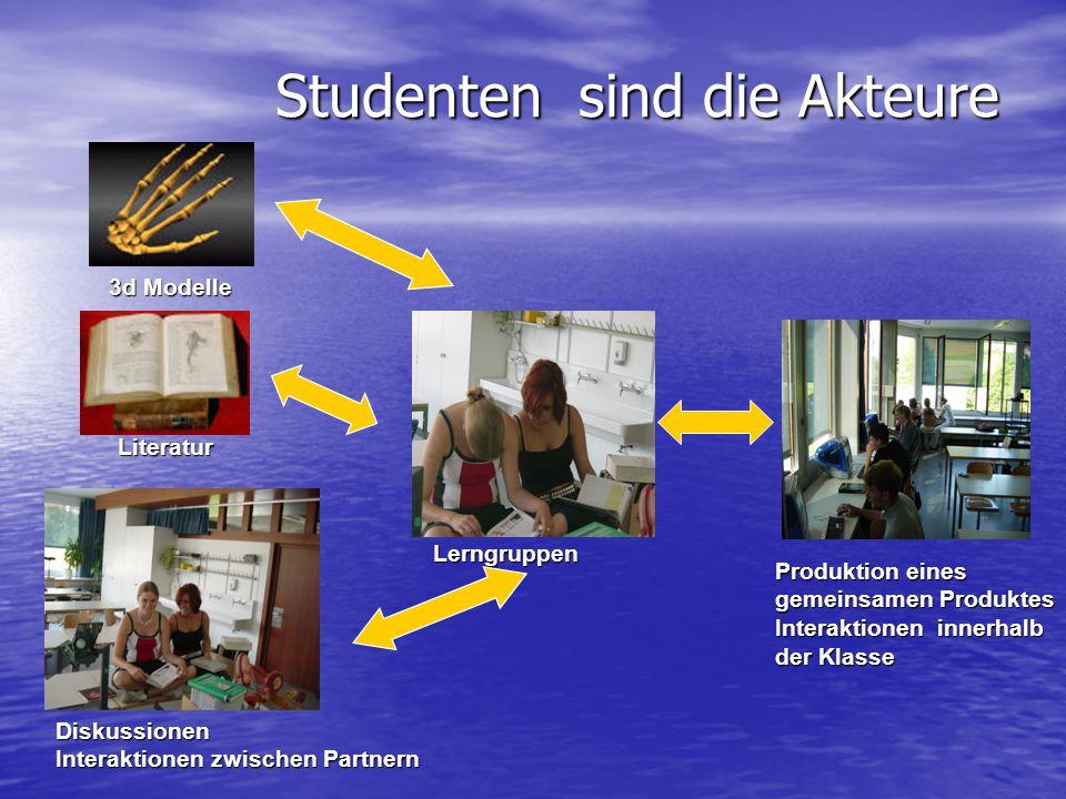 Studenten sind die Akteure Lerngruppen 3d Modelle Literatur Diskussionen Interaktionen zwischen Partnern Produktion eines gemeinsamen Produktes Intera