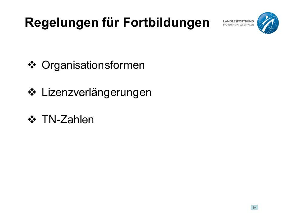 Regelungen für Fortbildungen  Organisationsformen  Lizenzverlängerungen  TN-Zahlen