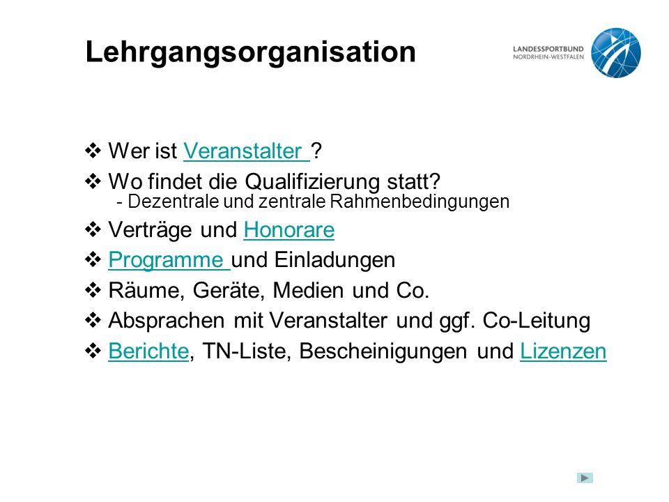 Lehrgangsorganisation  Wer ist Veranstalter Veranstalter  Wo findet die Qualifizierung statt.