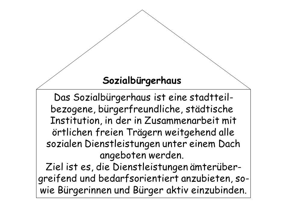 Das Sozialbürgerhaus ist eine stadtteil- bezogene, bürgerfreundliche, städtische Institution, in der in Zusammenarbeit mit örtlichen freien Trägern we