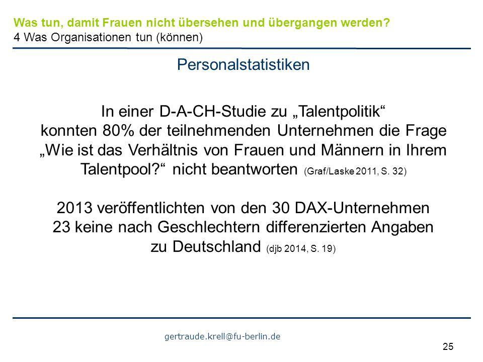 """gertraude.krell@fu-berlin.de 25 Personalstatistiken In einer D-A-CH-Studie zu """"Talentpolitik"""" konnten 80% der teilnehmenden Unternehmen die Frage """"Wie"""