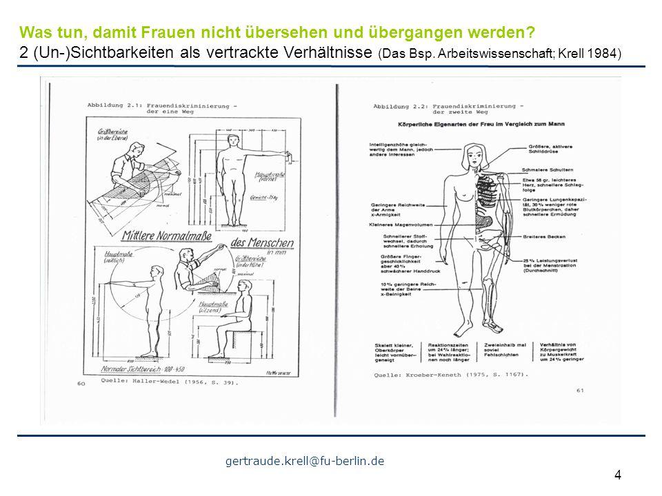 gertraude.krell@fu-berlin.de 4 Was tun, damit Frauen nicht übersehen und übergangen werden? 2 (Un-)Sichtbarkeiten als vertrackte Verhältnisse (Das Bsp