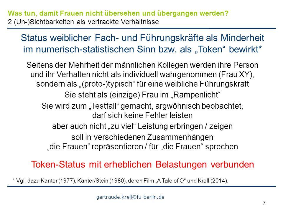 """gertraude.krell@fu-berlin.de 7 Status weiblicher Fach- und Führungskräfte als Minderheit im numerisch-statistischen Sinn bzw. als """"Token"""" bewirkt* Sei"""