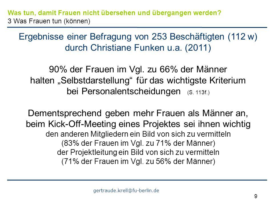 gertraude.krell@fu-berlin.de 9 Ergebnisse einer Befragung von 253 Beschäftigten (112 w) durch Christiane Funken u.a. (2011) 90% der Frauen im Vgl. zu