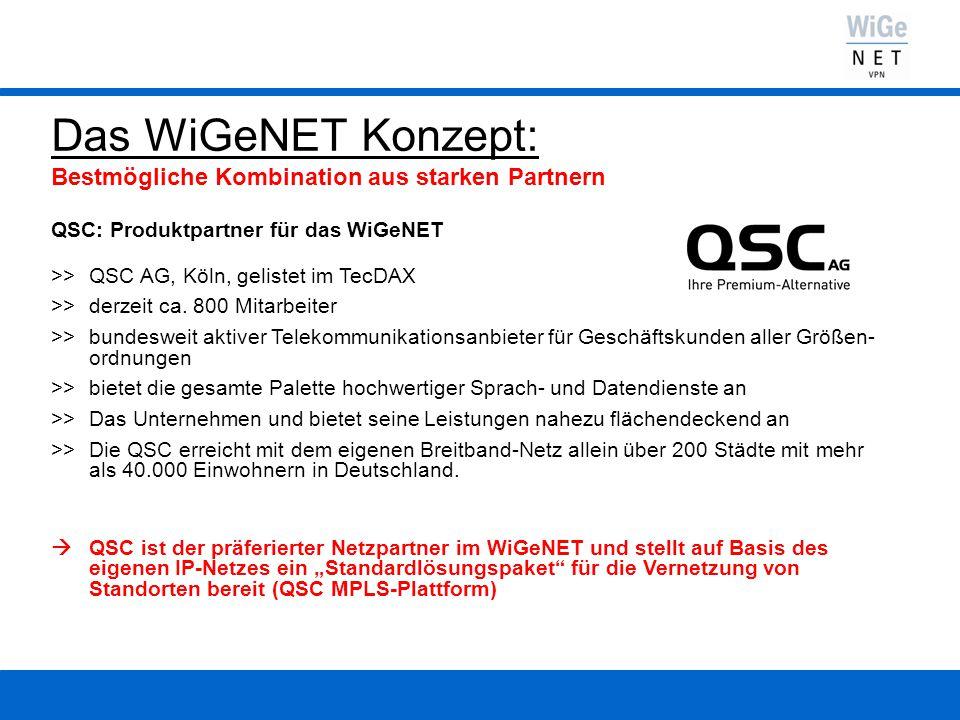Das WiGeNET Konzept: Bestmögliche Kombination aus starken Partnern QSC: Produktpartner für das WiGeNET >> QSC AG, Köln, gelistet im TecDAX >> derzeit ca.