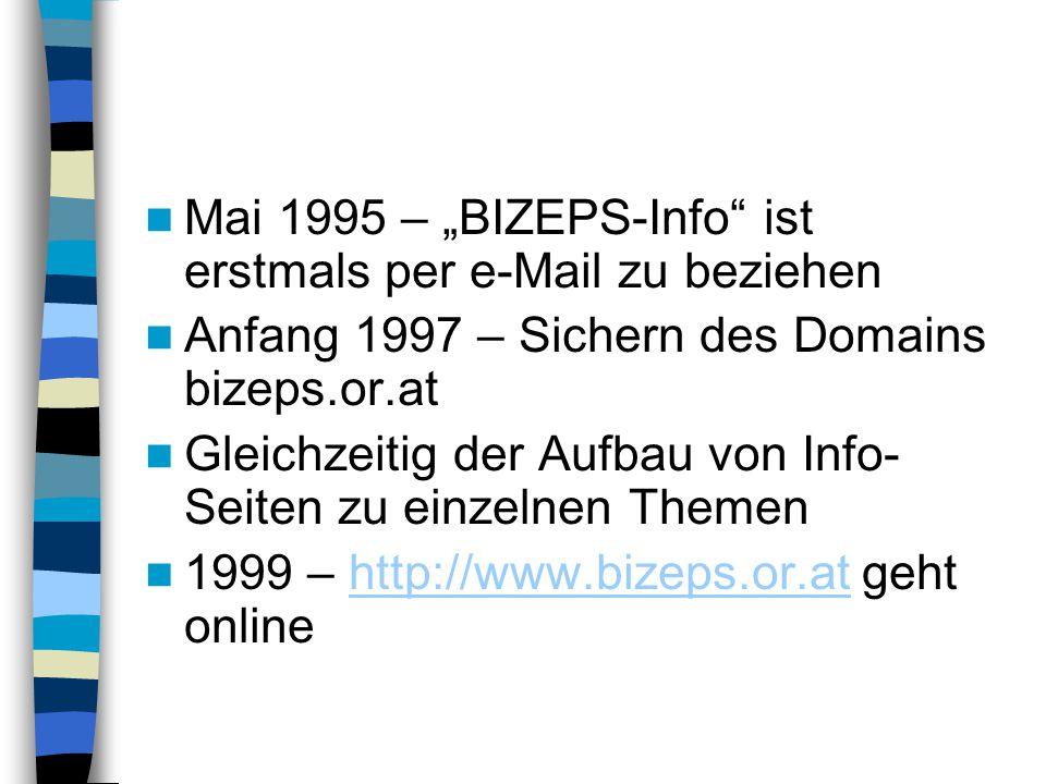 """Mai 1995 – """"BIZEPS-Info"""" ist erstmals per e-Mail zu beziehen Anfang 1997 – Sichern des Domains bizeps.or.at Gleichzeitig der Aufbau von Info- Seiten z"""