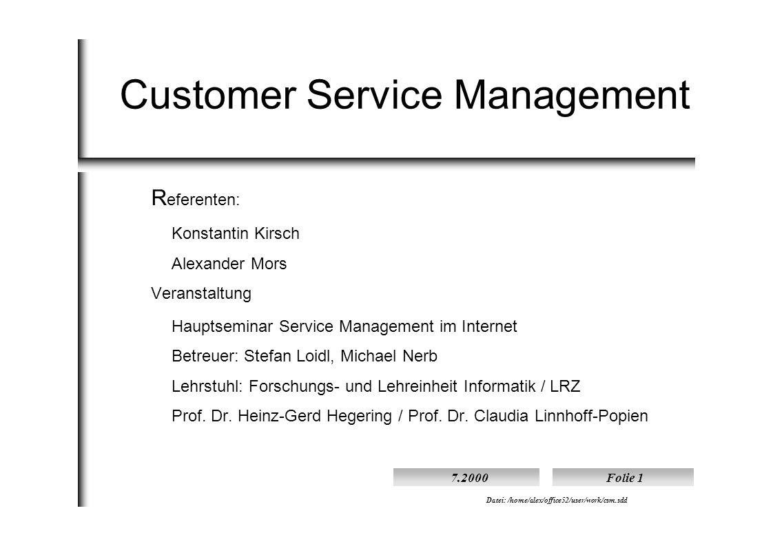 Vortragender: Kirsch / Mors7.2000Folie 2 Datei: /home/alex/office52/user/work/csm.sdd Erbringung des Informationsdienstes Referat