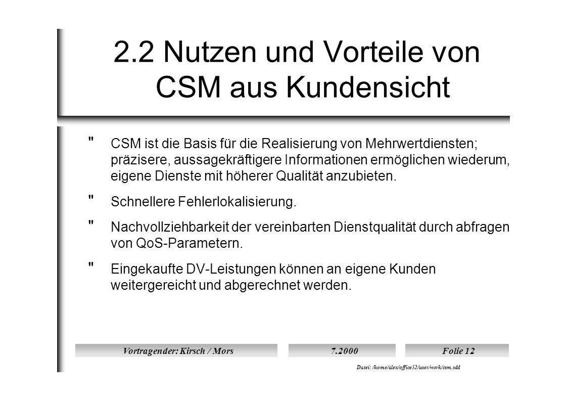 Vortragender: Kirsch / Mors7.2000Folie 12 Datei: /home/alex/office52/user/work/csm.sdd 2.2 Nutzen und Vorteile von CSM aus Kundensicht  CSM ist die Basis für die Realisierung von Mehrwertdiensten; präzisere, aussagekräftigere Informationen ermöglichen wiederum, eigene Dienste mit höherer Qualität anzubieten.