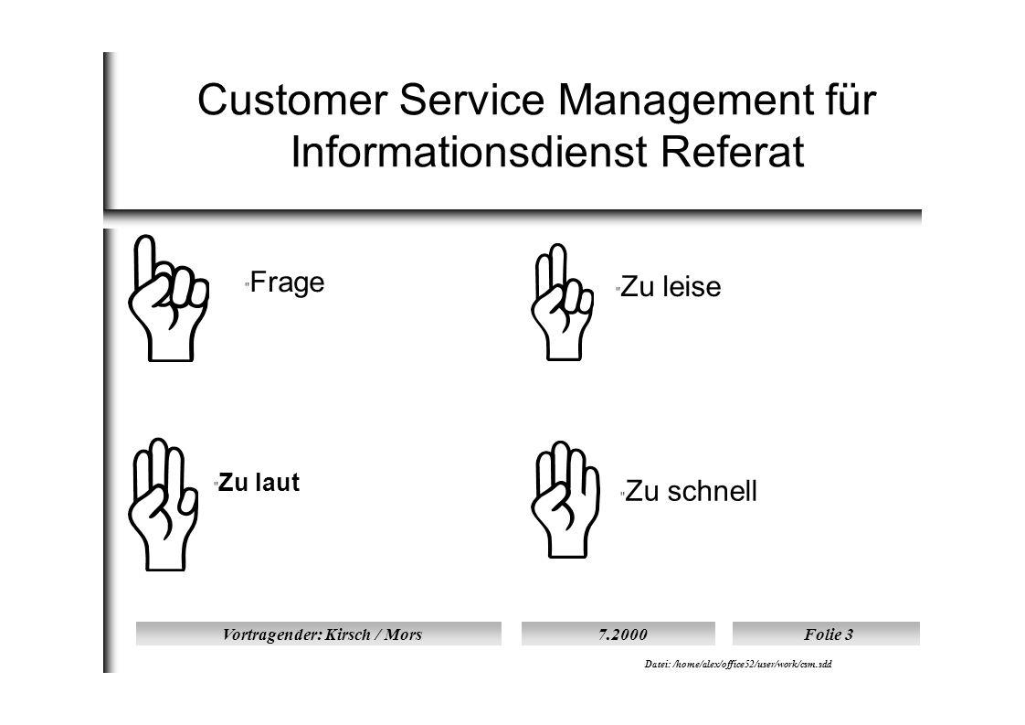 Vortragender: Kirsch / Mors7.2000Folie 4 Datei: /home/alex/office52/user/work/csm.sdd Übersicht I  I.) Kundensicht auf Customer Service Management  1.