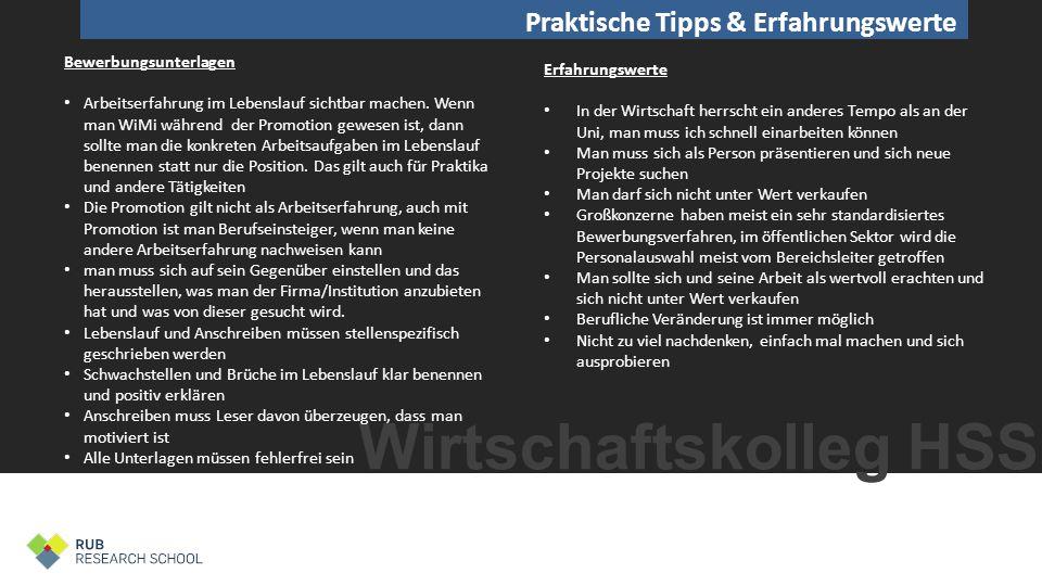 Wirtschaftskolleg HSS Tipps Konkrete Empfehlungen der Experten Dr.