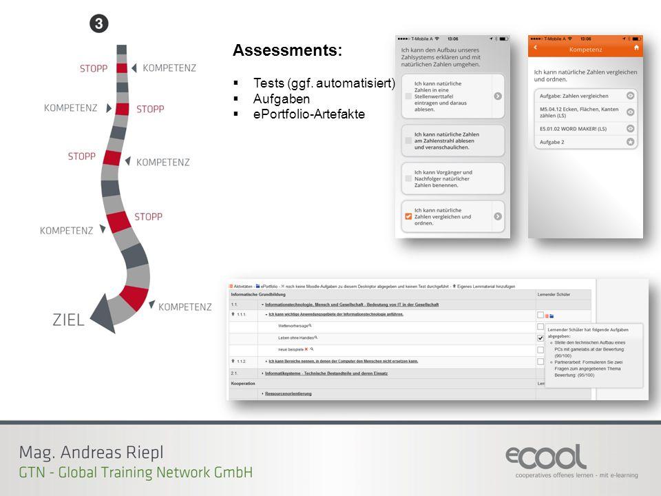 Assessments:  Tests (ggf. automatisiert)  Aufgaben  ePortfolio-Artefakte