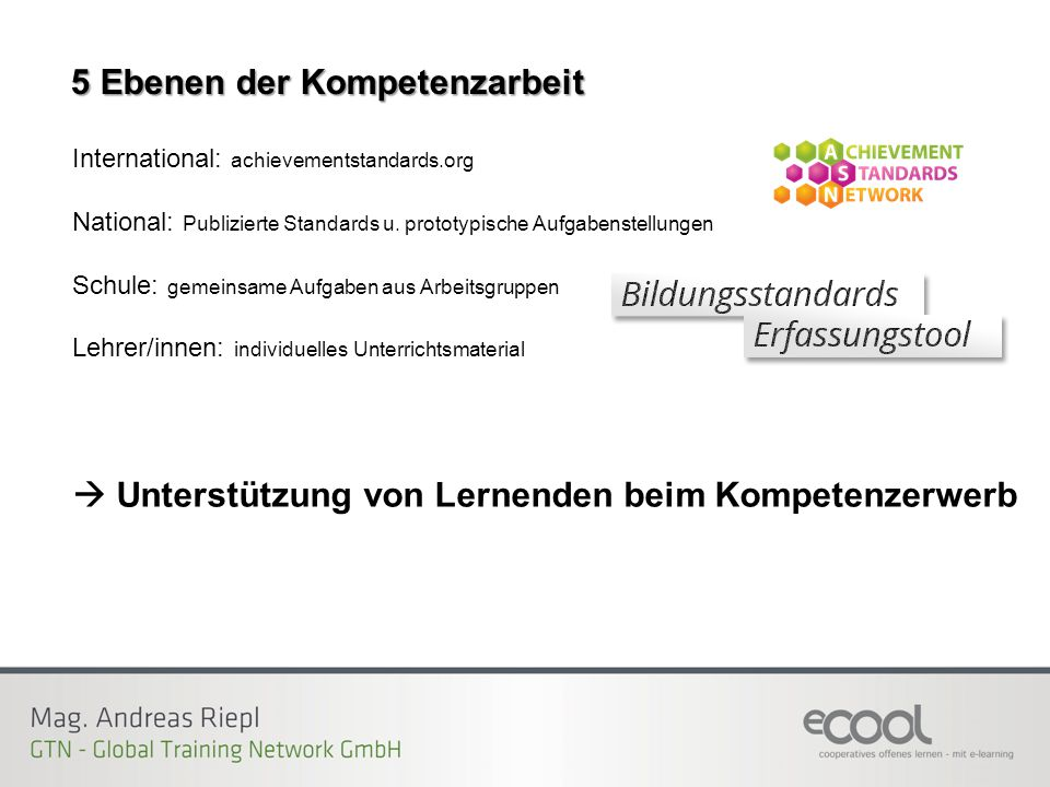 5 Ebenen der Kompetenzarbeit International: achievementstandards.org National: Publizierte Standards u.