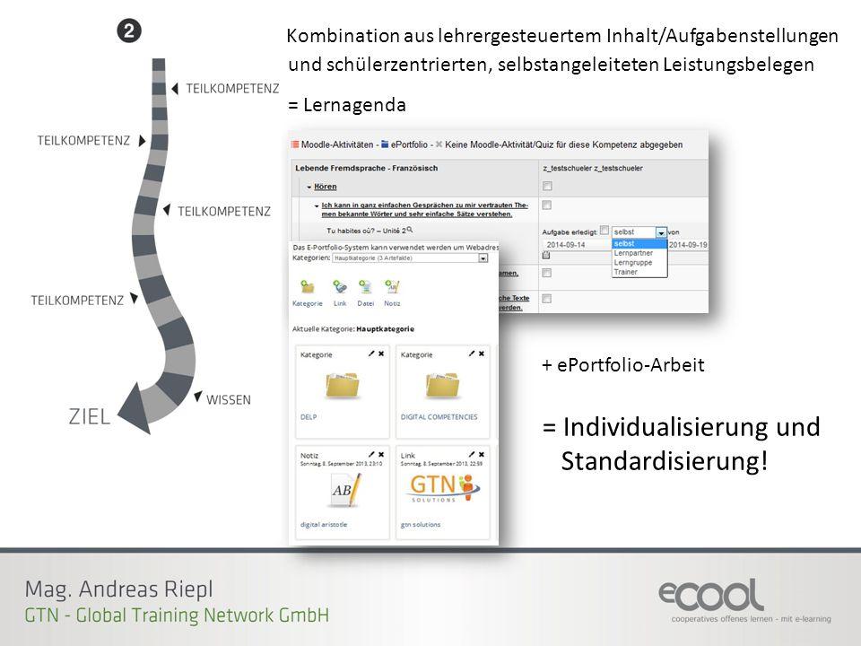 Kombination aus lehrergesteuertem Inhalt/Aufgabenstellungen = Lernagenda + ePortfolio-Arbeit = Individualisierung und Standardisierung! und schülerzen