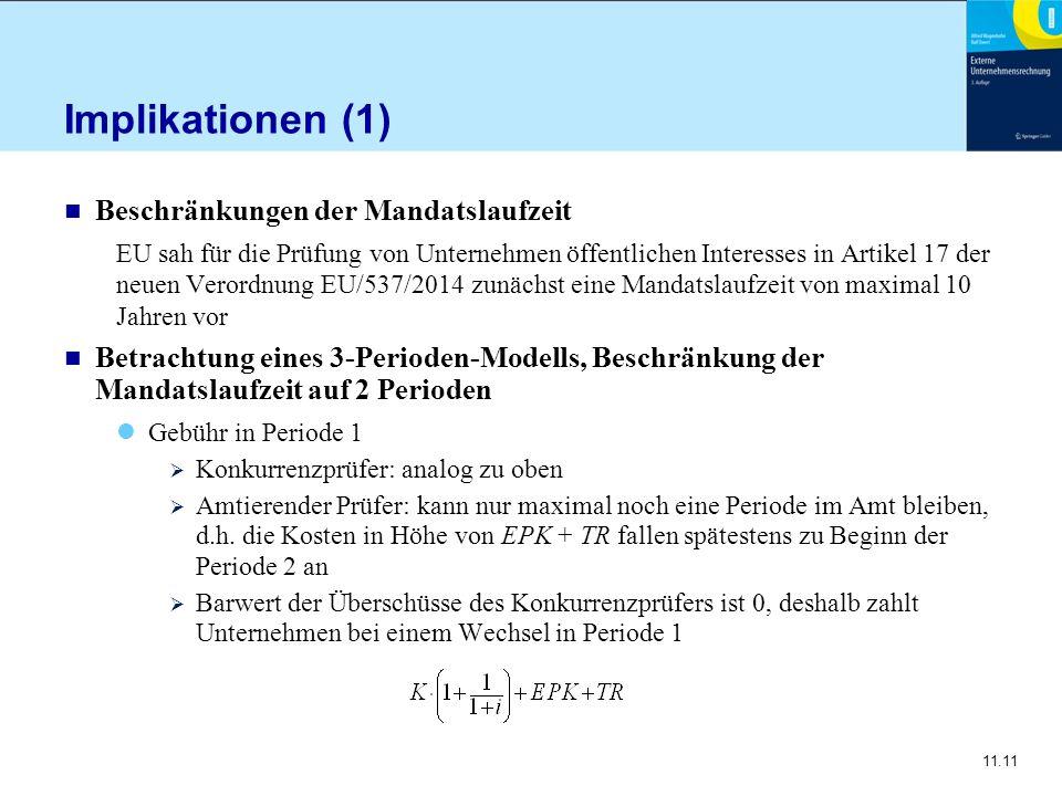 11.11 Implikationen (1) n Beschränkungen der Mandatslaufzeit EU sah für die Prüfung von Unternehmen öffentlichen Interesses in Artikel 17 der neuen Ve