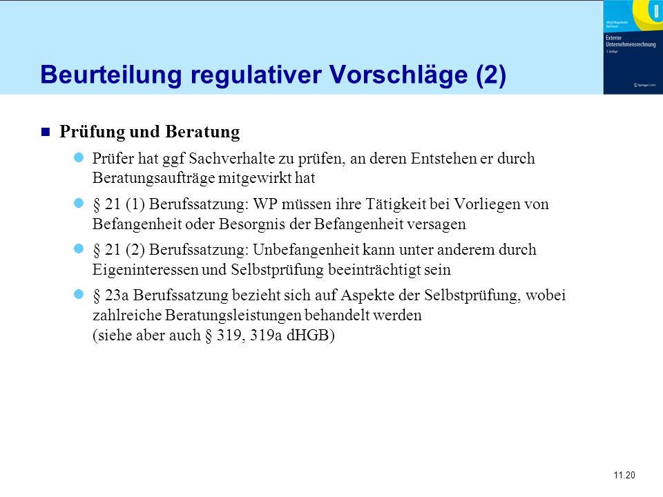 11.20 Beurteilung regulativer Vorschläge (2) n Prüfung und Beratung Prüfer hat ggf Sachverhalte zu prüfen, an deren Entstehen er durch Beratungsaufträ
