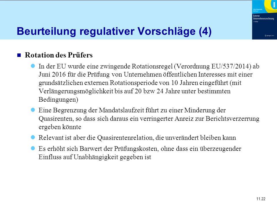 11.22 Beurteilung regulativer Vorschläge (4) n Rotation des Prüfers In der EU wurde eine zwingende Rotationsregel (Verordnung EU/537/2014) ab Juni 201