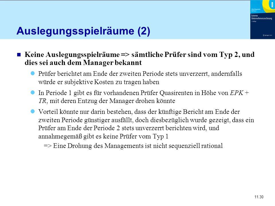 11.30 Auslegungsspielräume (2) n Keine Auslegungsspielräume => sämtliche Prüfer sind vom Typ 2, und dies sei auch dem Manager bekannt Prüfer berichtet