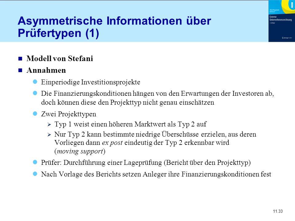 11.33 Asymmetrische Informationen über Prüfertypen (1) n Modell von Stefani n Annahmen Einperiodige Investitionsprojekte Die Finanzierungskonditionen