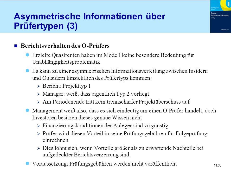 11.35 Asymmetrische Informationen über Prüfertypen (3) n Berichtsverhalten des O-Prüfers Erzielte Quasirenten haben im Modell keine besondere Bedeutun
