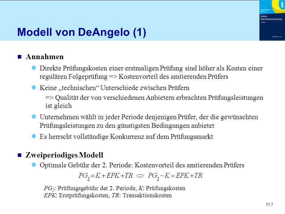 11.7 Modell von DeAngelo (1) n Annahmen Direkte Prüfungskosten einer erstmaligen Prüfung sind höher als Kosten einer regulären Folgeprüfung => Kostenv
