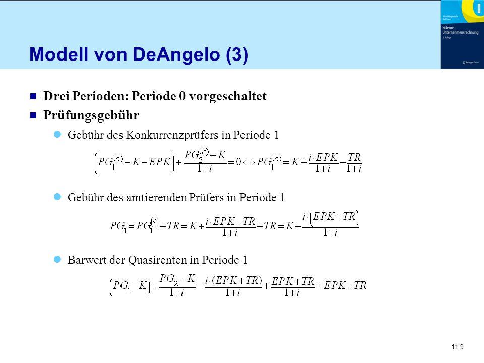 11.10 Modell von DeAngelo (4) n Gebühr in Periode 0 Gesamtspielraum aus dem Auftrag ist stets EPK + TR Er wird bei Verlängerung der betrachteten Perioden unterschiedlich auf die Folgeperioden verteilt Im Dreiperiodenmodell ergibt sich daraus zugleich ein beständiger Anstieg der Prüfungsgebühren über die Zeit, denn es gilt PG0 < PG1 < PG2 Mehrere Perioden: Die Prüfungsgebühr für alle Perioden außer der Start- und Schlussperiode ist für mehr als 3 Perioden gleich