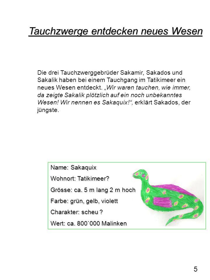 Name: Sakaquix Wohnort: Tatikimeer? Grösse: ca. 5 m lang 2 m hoch Farbe: grün, gelb, violett Charakter: scheu ? Wert: ca. 800`000 Malinken Tauchzwerge